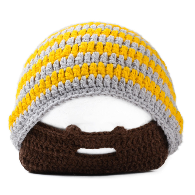 bda8a007a61 Handmade Knitted Crochet Beard Hat Bicycle Mask Ski Cap roman knight  octopus Cool Funny beanies Gift