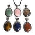 Labradorite Pedra Natural Pingente de suspensão da gota Oval colar pedra natural pingente mulheres jóias collares Frete grátis
