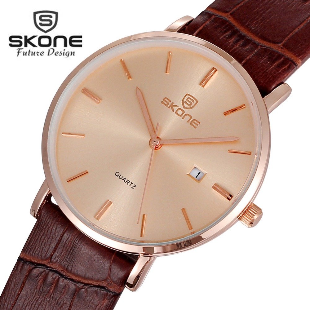 SKONE Leather Ultra Thin Dress Watch Men Famous Top Brand Luxury Mens Gold Quartz Watch Calendar Watches Clock Relogio Masculino клип кейс deppa gel air для apple iphone 6 plus 6s plus желтый