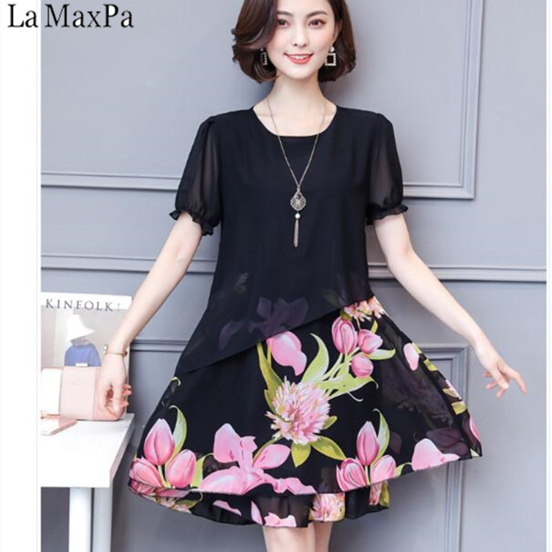 La MaxPa Dresses Of The Big Sizes Women Clothing 2019 Spring Summer Style  Korean Vestidos Fashion 50e1cde924de