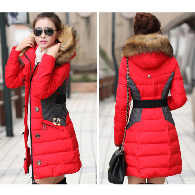 2017 New Brand Fashion Clothing Fur Hooded Zipper Long Style Women Warm Down Coat 4 Color Winter parkas coat