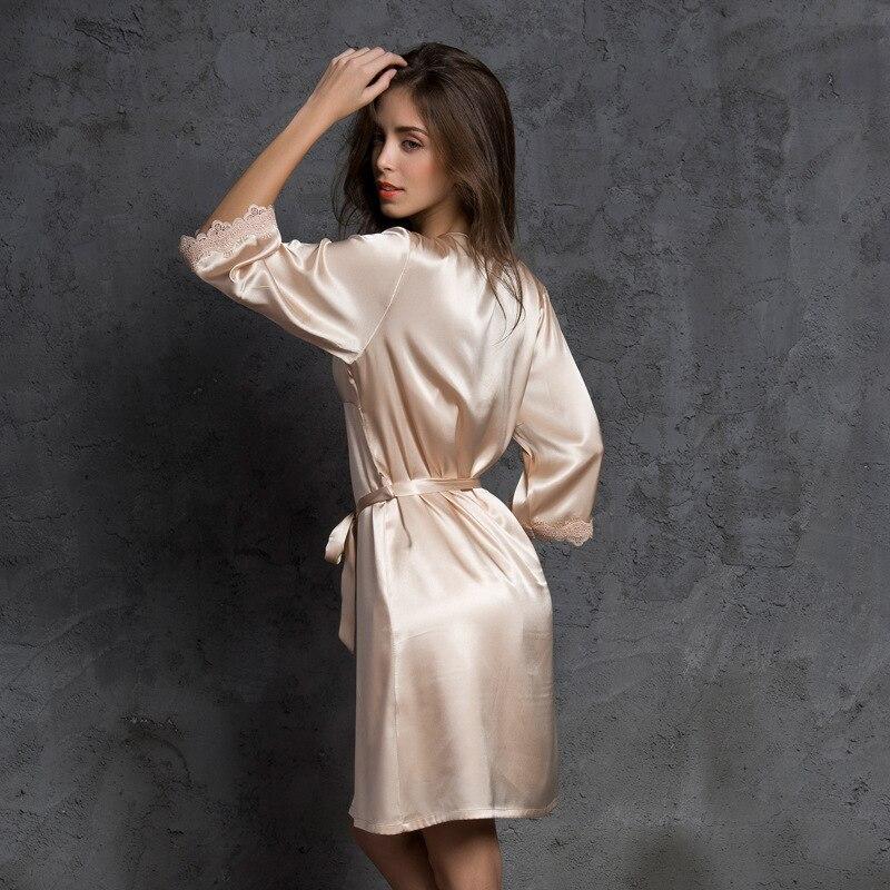 4790a08e1f0c Купить Пижамы роковой Весна сна Lounge атласное Ночное платье халат  шелковый комплект пикантная Женская одежда для сна 2 шт. домашняя одежда  Продажа Дешево.