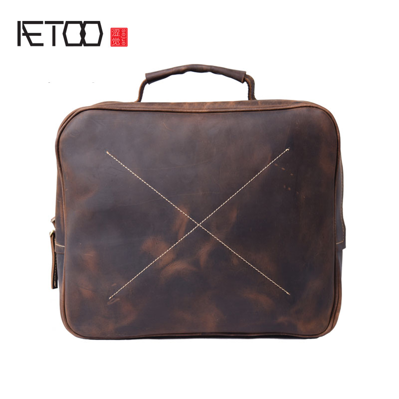 AETOO The original manual Crazy Horse male bag leather cross section square Europe youth tide Shoulder Handbag new tide lingge europe and the united states fashion leather handbag ladies cross section cowhide shoulder slung small square ba