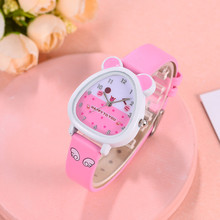 New Leather Candy Jelly Color Student Watch Girls Clock Fash