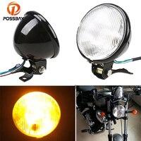 POSSBAY Black 5 Motorcycle Headlight Amber Front Lamp Phare Moto For Harley Bobber Chopper Touring Motocross Cafe Racer Lights