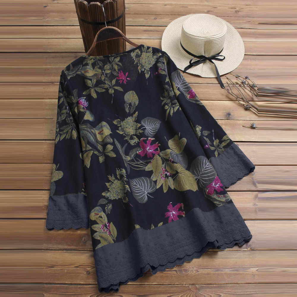 New Stylies Women Long Sleeves Vintage Floral Print Patchwork Blouse Lace Splicing Tops Plus Size Patchwork Tunic Top Blouses & Shirts