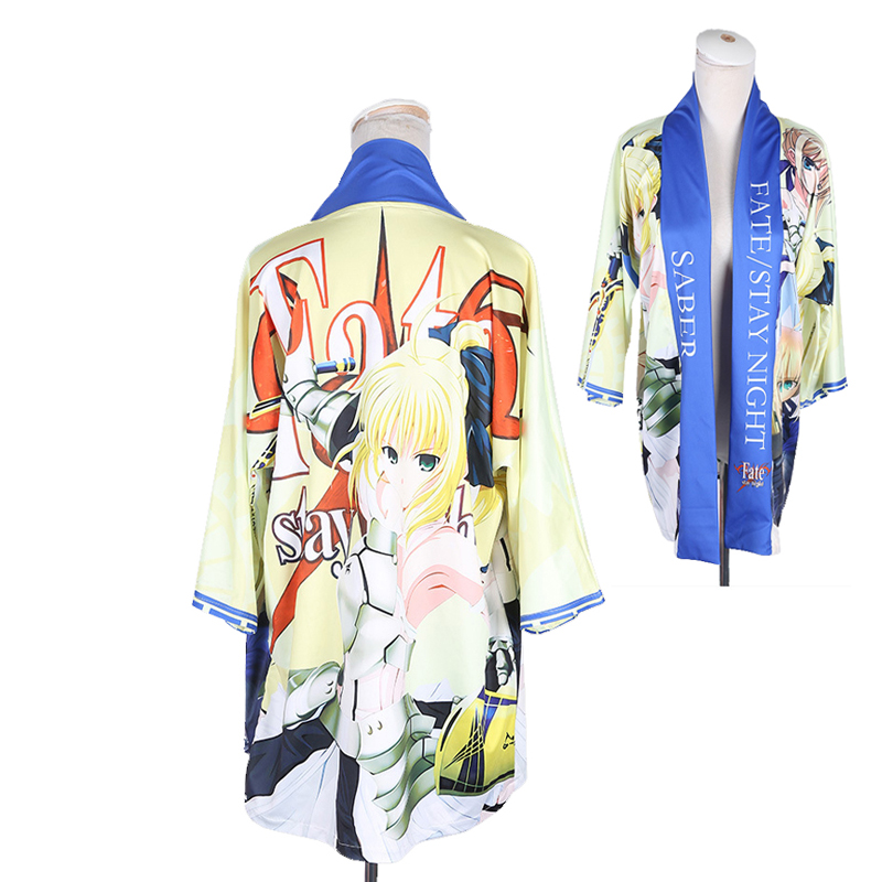 Fate/stay night Altria Pendragon Saber Cloak Haori Cosplay Costume Japanese Casual Kimono Yukata Halloween Party Dress
