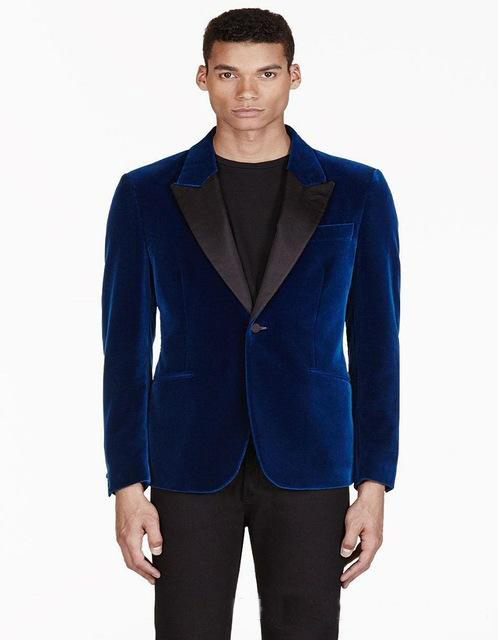 High Quality New Designer Fashion Grooms Tuxedos Men Suits Peaked Lapel One Button Wedding Dinner Blue Velvet (Jacket+ Pant) Bla