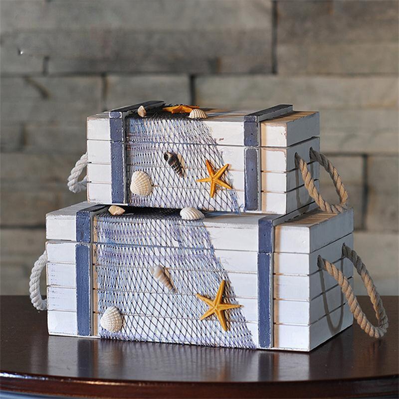 Méditerranée mer style créatif en bois artisanat boîte de rangement décor à la maison bijoux boîte weding décor grands beaux cadeaux