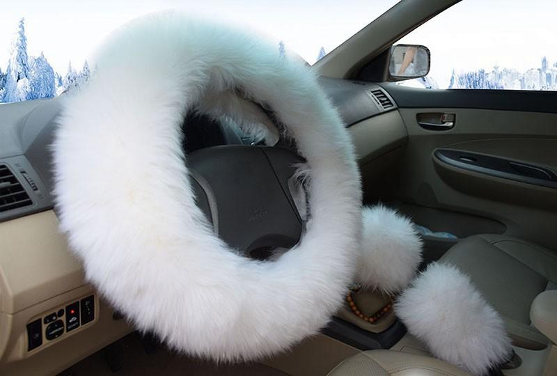 Winter Warm Wool Handbrake Cover Gear Shift Cover Steering Wheel Cover 38cm diameter 1 Set 3 Pcs 9