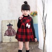 Girls Spring and Autumn Winter Dress Cloth Sundress Children Cloth Tartan Jumper Dress
