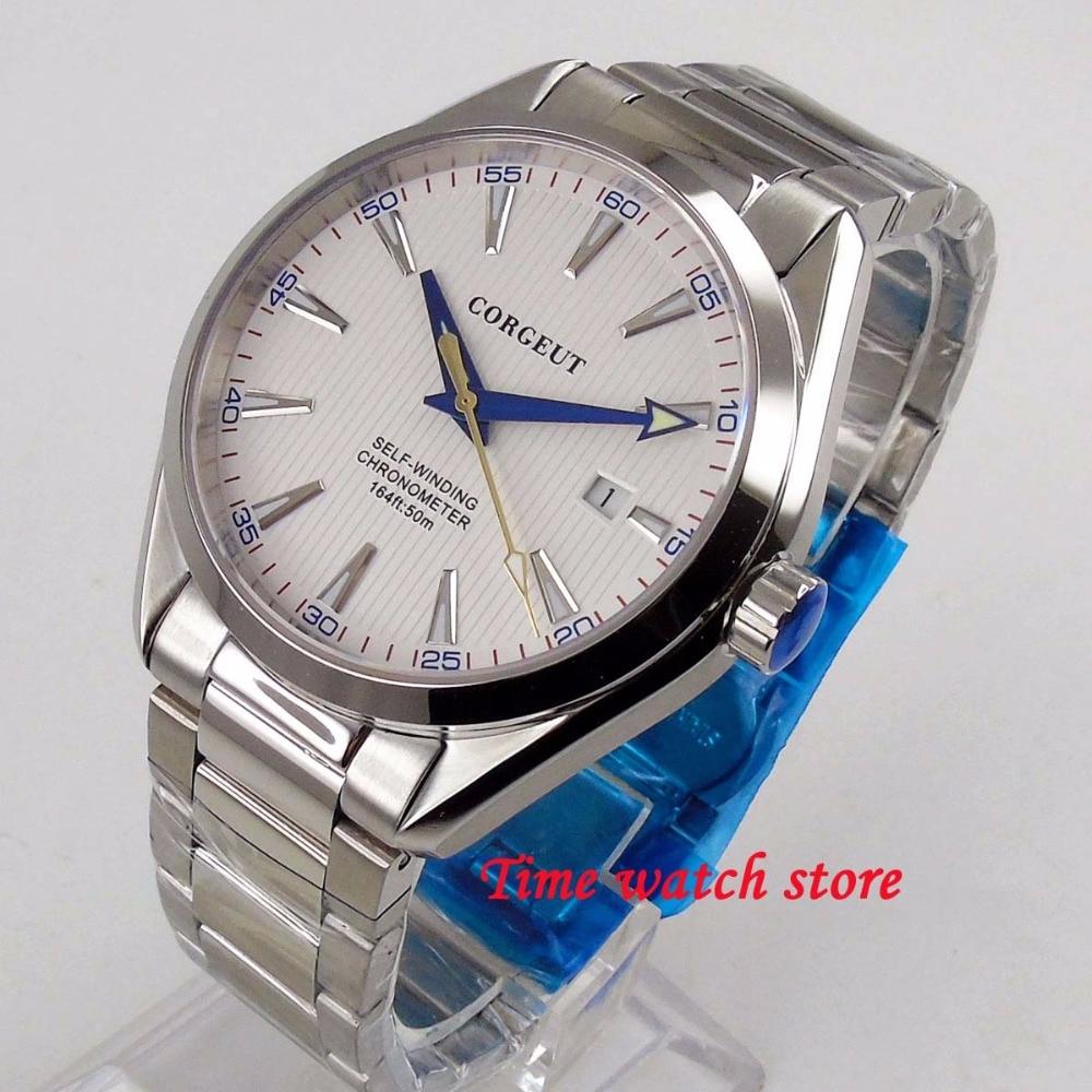 Polished 41mm Corgeut white dial date luminous sapphire glass 5ATM bracelet Automatic movement men s watch