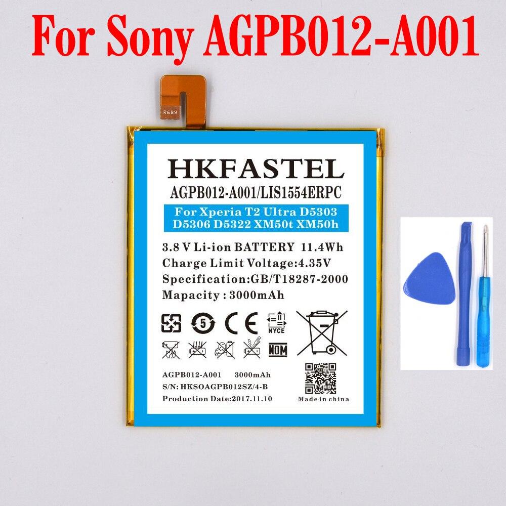 New AGPB012-A001 Li-ion Mobile Phone Battery For Sony Xperia T2 Ultra dual Xperia T2 Ultra D5303 D5306 D5322 XM50t 3000mAh