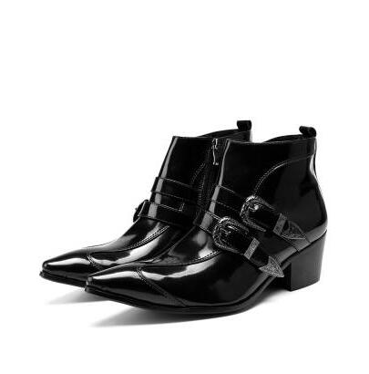 Punk 2018 Fall Genuine Leather Men Ankle Boots Iron Rivet Pointed Toe Mens Military Cowboy Boots Horsehair Buckles Botas Hombre new genuine leather men ankle boots punk style iron pointed toe zip mens military cowboy boots high top buckles botas hombre