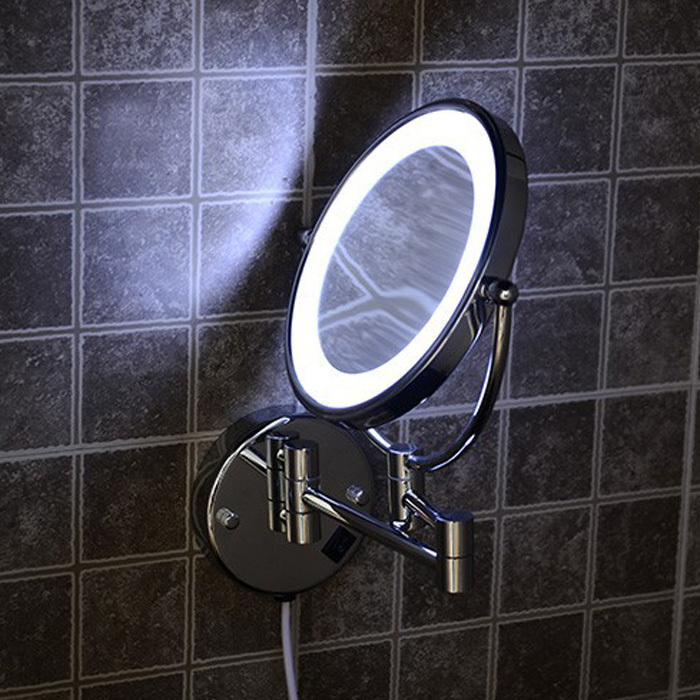 Wall Mounted 8 Bath LED Bathroom Mirrors Magnifying Shaving Ultrathin Extendable Make Up Mirror Espelho