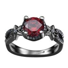 DOULAIMEI Real 925 Sterling Silver Black Gun Crystal Finger Ring Bridal Women Men Girl Boy Friend Lover's Fine Jewelry Gift