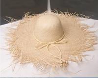 Wholesale 6pcs Women Natural Wide Brim Raffia Straw Hats Fringe Women Plain Large Beach Summer Sun