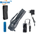 RUZK40 CREE XM-L T6 led flashlight adjustable waterproof  torch with 1*18650 battery one sleeve and two Chargers
