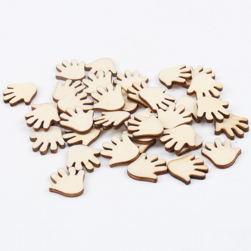 Natural Wood Color Hand Wooden Pattern Scrapbooking Art Collection Craft For Handmade Accessory Sewing Home 20mm 50pcs
