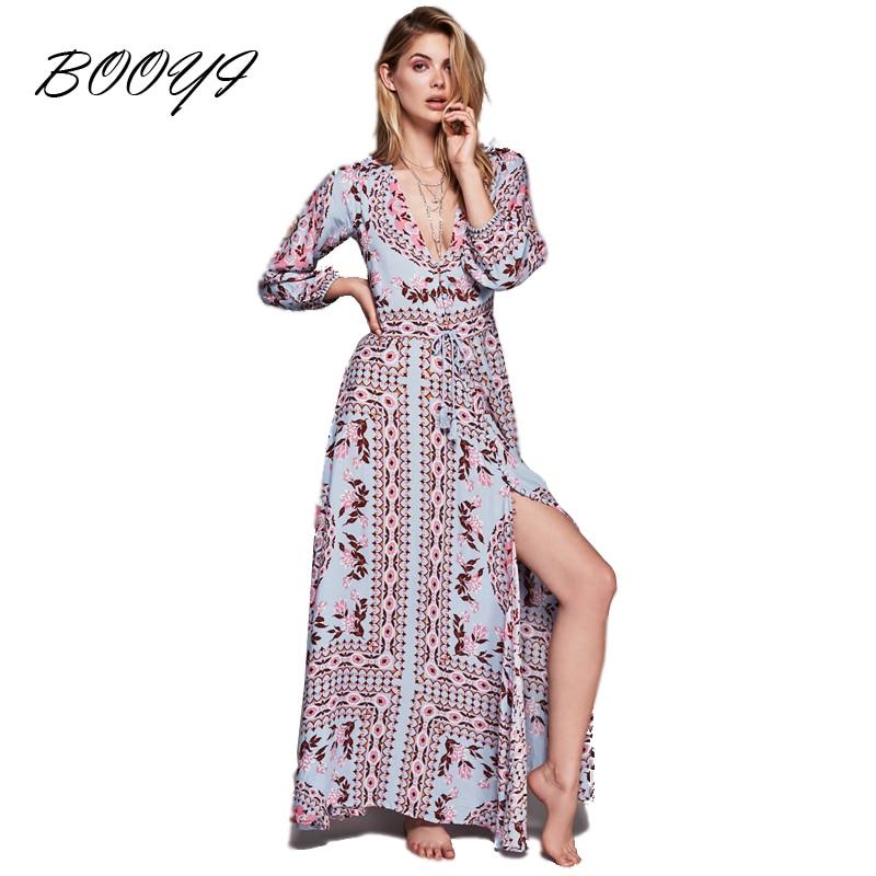 women dress spring summer 2017 long maxi dresses blue floral print cotton sexy robe boho hippie. Black Bedroom Furniture Sets. Home Design Ideas