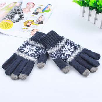 Miya Mona Warm Winter Gloves Screen Sense Wool Knitted Wrist Gloves Snowflake Full Finger Unisex Gloves Mittens for Women Men