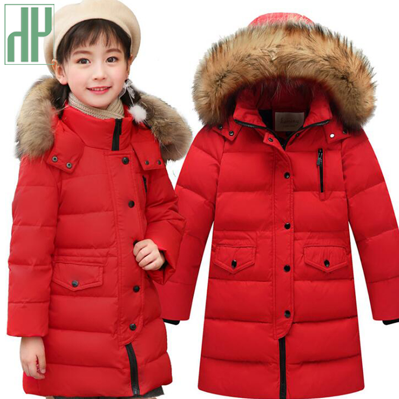 HH Kids winter jacket thick duck Down boy natural hair collar hooded long coat girl Parkas Russia jacket children outerwear russia winter boys girls down jacket boy girl warm thick duck down