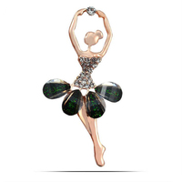 Nine Flower Brand Crystal Lovely Ballet Girl Brooches For Women Fashion Scarf Buckles Pin