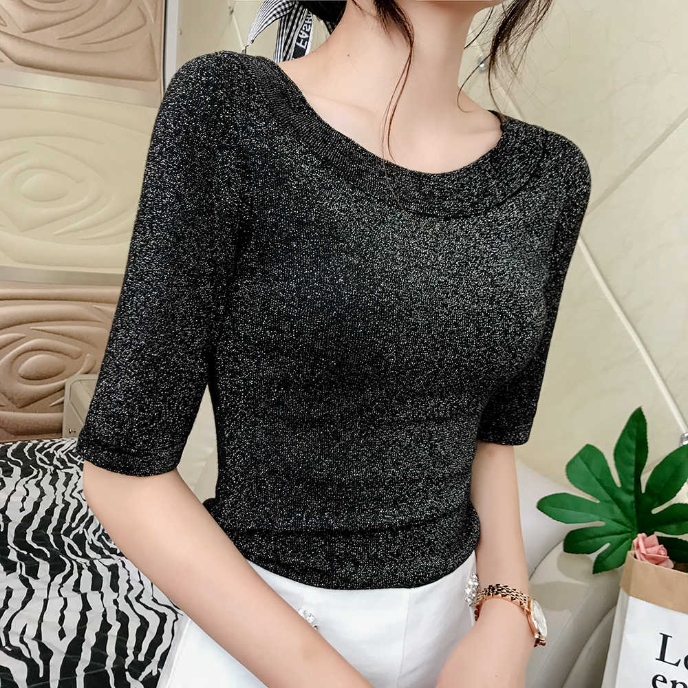 ad694797b17 Autumn New Women s Clothing Sexy strapless o-neck Half Solid Buling Lurex  Knitting bandage crop