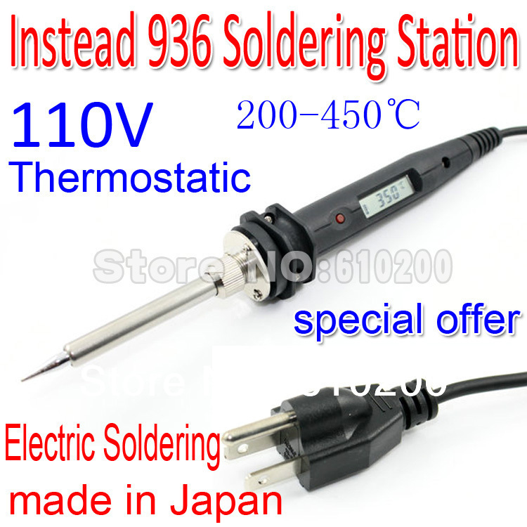 Free shipping 110V ESD Lead-free Thermostatic Adjustable LCD Digital Electric Soldering Substitute 936 Soldering station