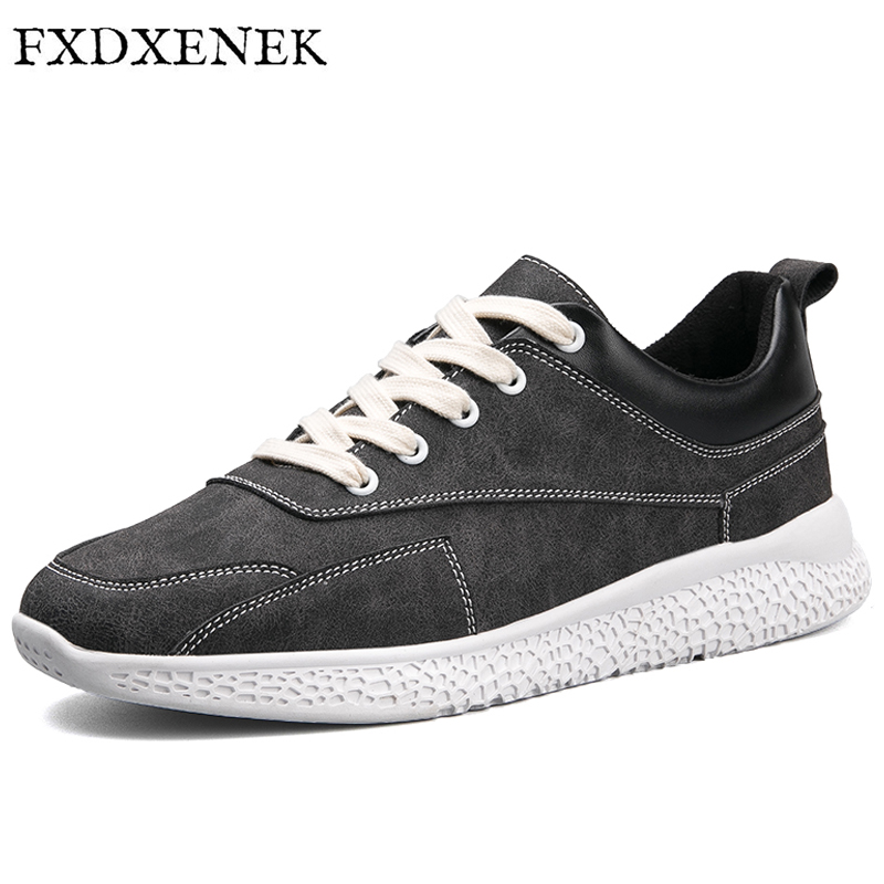 FXDXENEK New Fahion Leather Shoes Men Spring Autumn Men Casual Shoes Fashion Leather Shoes Flat Men's Sneakers Zapatillas 39-44 spring autumn casual men s shoes fashion breathable white shoes men flat youth trendy sneakers