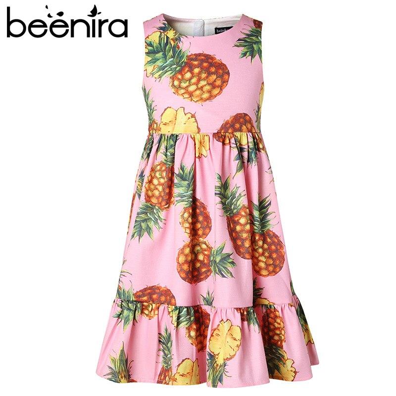 все цены на Beenira Girls Dresses 2017 New European And American Style Children Sleeveless Pineapple Pattern Princess Dress Kids Cute Dress онлайн