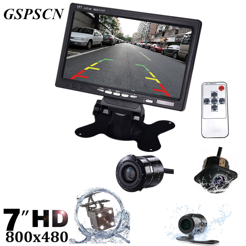 GSPSCN HD 7 Inch LCD Color Display Screen Car Rear View DVD VCR Monitor With LED Lights Night Vision Rearview Reversing Camera diykit 9 inch tft lcd car monitor display car reverse rear view monitor screen with bnc av input remote control dvd vcr