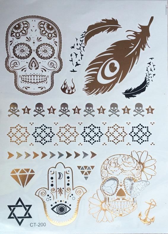 ᗖ2015 nuevo diseño multicolor sexy tatuaje productos metálicos oro ...