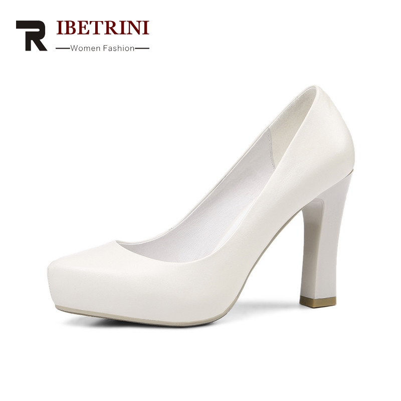 RIBETRINI 2018 Spring Autumn Hot Sale Genuine Leather Pumps Solid Beige High Heels Ol Shoes Woman Shallow Lady Work Shoes karinluna 2018 spring autumn hot sale