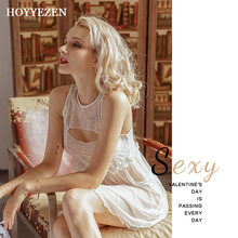 Hoyyezen sexy woman home service pajamas underwear perspective mesh openwork nightdress set