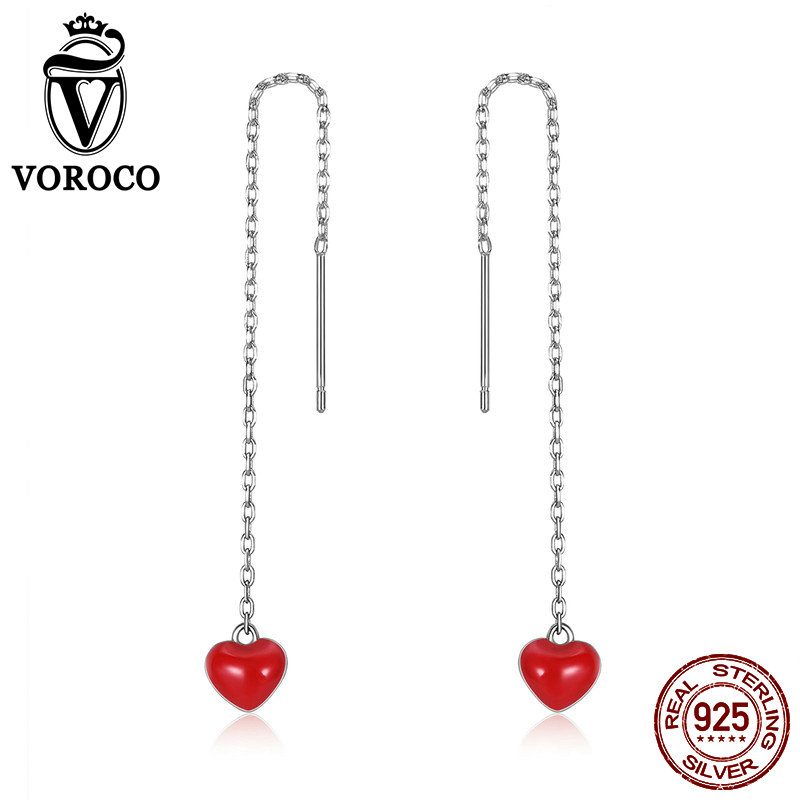 VOROCO Drop-Earrings Fine-Jewelry New Cute Women Party Silver Gifts Dating VSE150 Girls