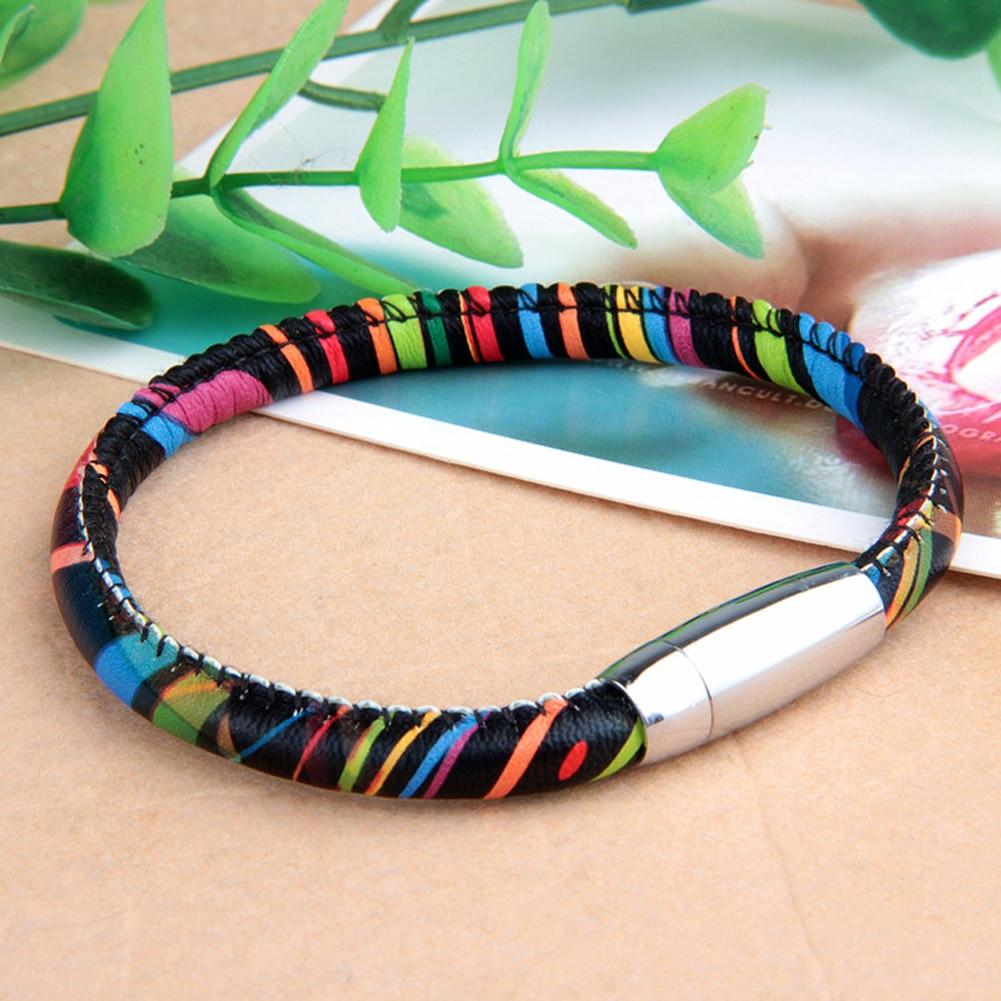 New Design Bracelet Vintage Cow Leather Football Shaped Hand Colorful Braided Rope Bracelet Magnetic Buckle Bracelet