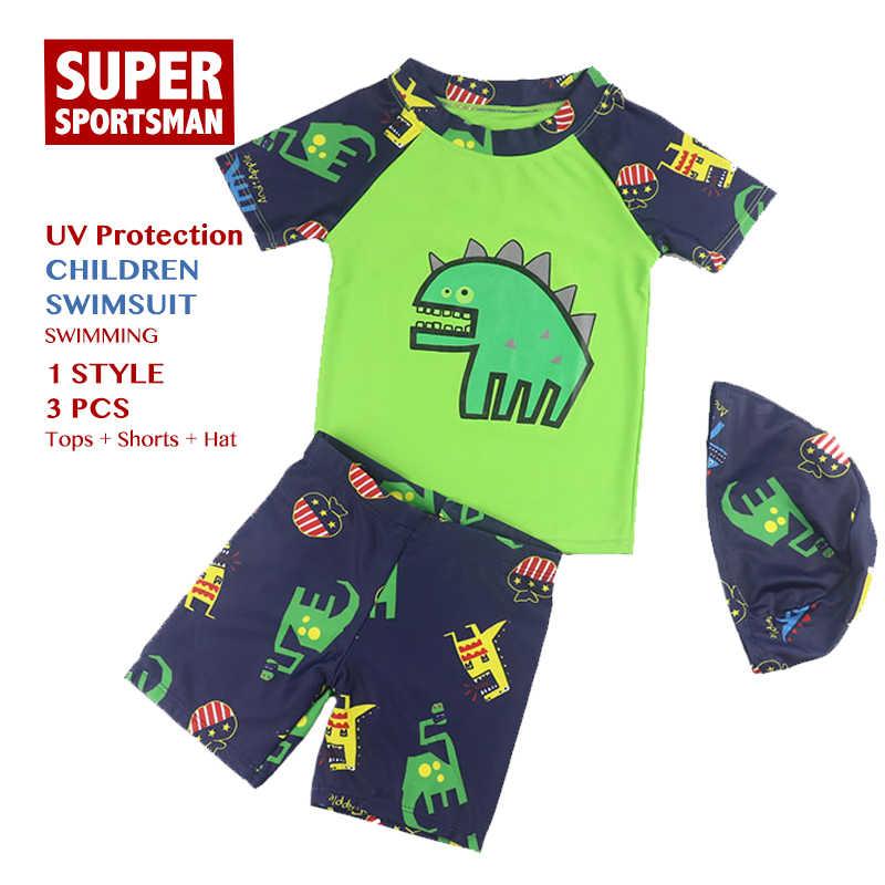 3f3892a5a2 Children Cartoon Dinosaur Swimsuit Baby Kids UV Protection Swimming Bathing  Suit Toddler Boys Summer Swimwear Beach