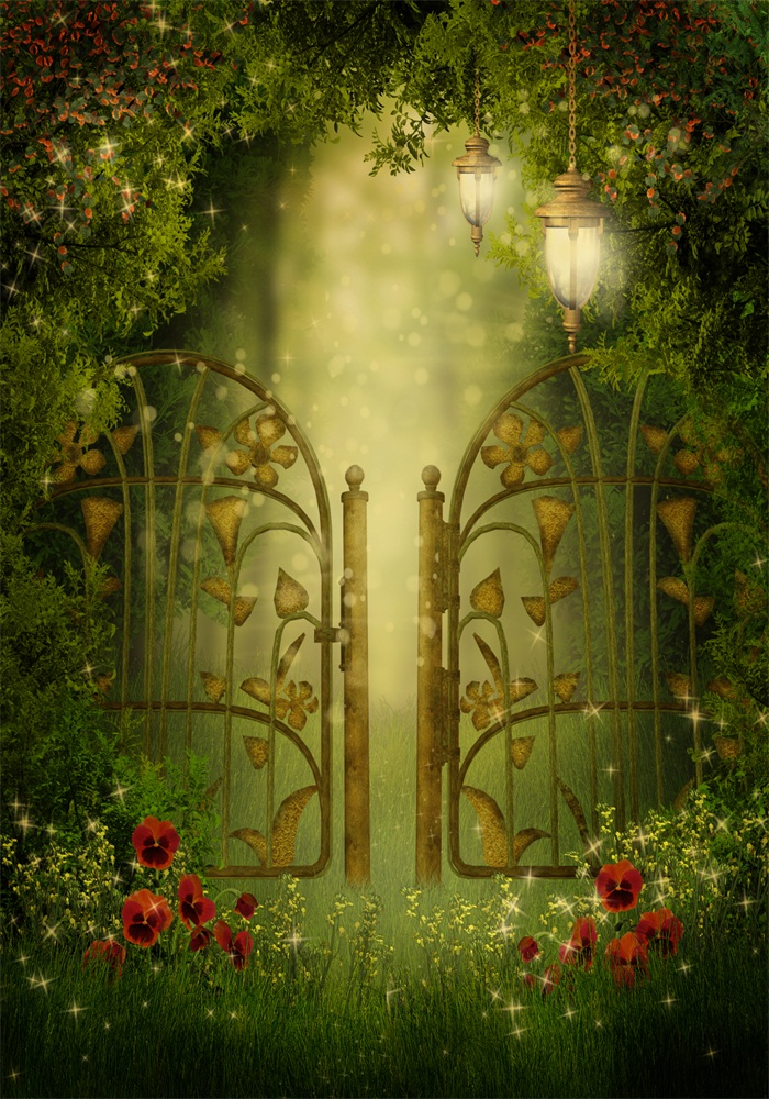 Laeacco Fairytale Flowers Garden Gate Lamps Baby Photography Backdrops Vinyl Customizable Photo Backgrounds For Photo Studio