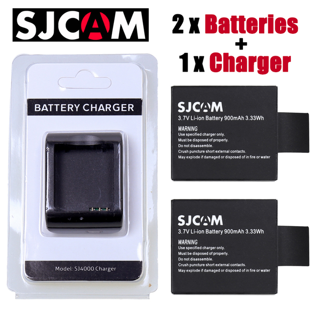 Originale 900 mah SJCAM SJ6000 SJ7000 batteria della macchina fotografica 2 + 1 pcs caricatore per DV SJ4000 SJ 4000 5000 6000 7000 HD 1080 P macchina fotografica di Sport