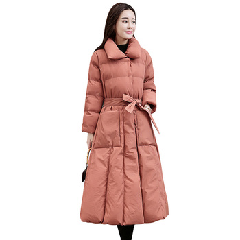 Wmswjh 2019 New Women Winter Down Cotton Jacket High-quality Thick Warm Jacket Parkas Fashion Slim Long Solid Color Coat WJM283