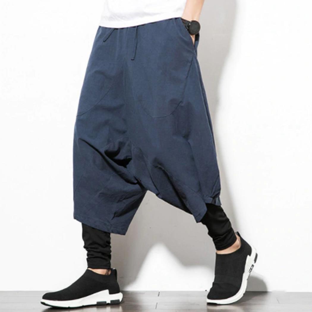 Harem Pants Trousers Pocket Loose Men's Large Calf-Length Bloomers Homme Wide-Crotch