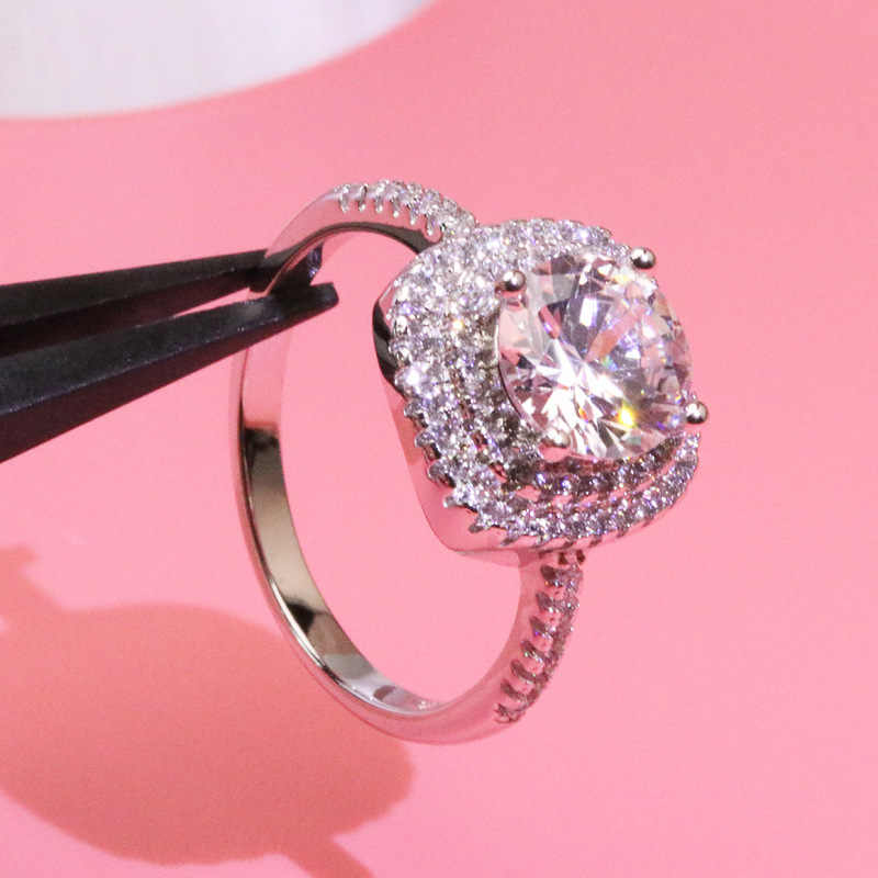 Роскошные Принцесса кольцо с бриллиантом классический магический куб 14 K Gold Anillos де кольцо для Для женщин вечерние Bague Pour Femme ювелирные Brincos Bizuterias