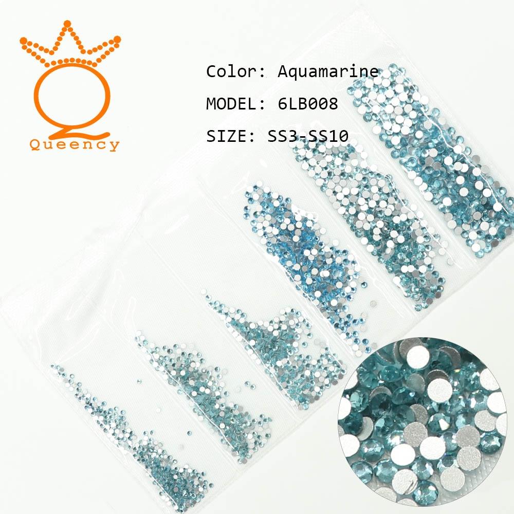 Aquamarine Color 2018 New Packing Mixed Size SS3-SS10 Non Hotfix Rhinestone DIY Manicure Strass Nail Crystal Nail Art Decoration
