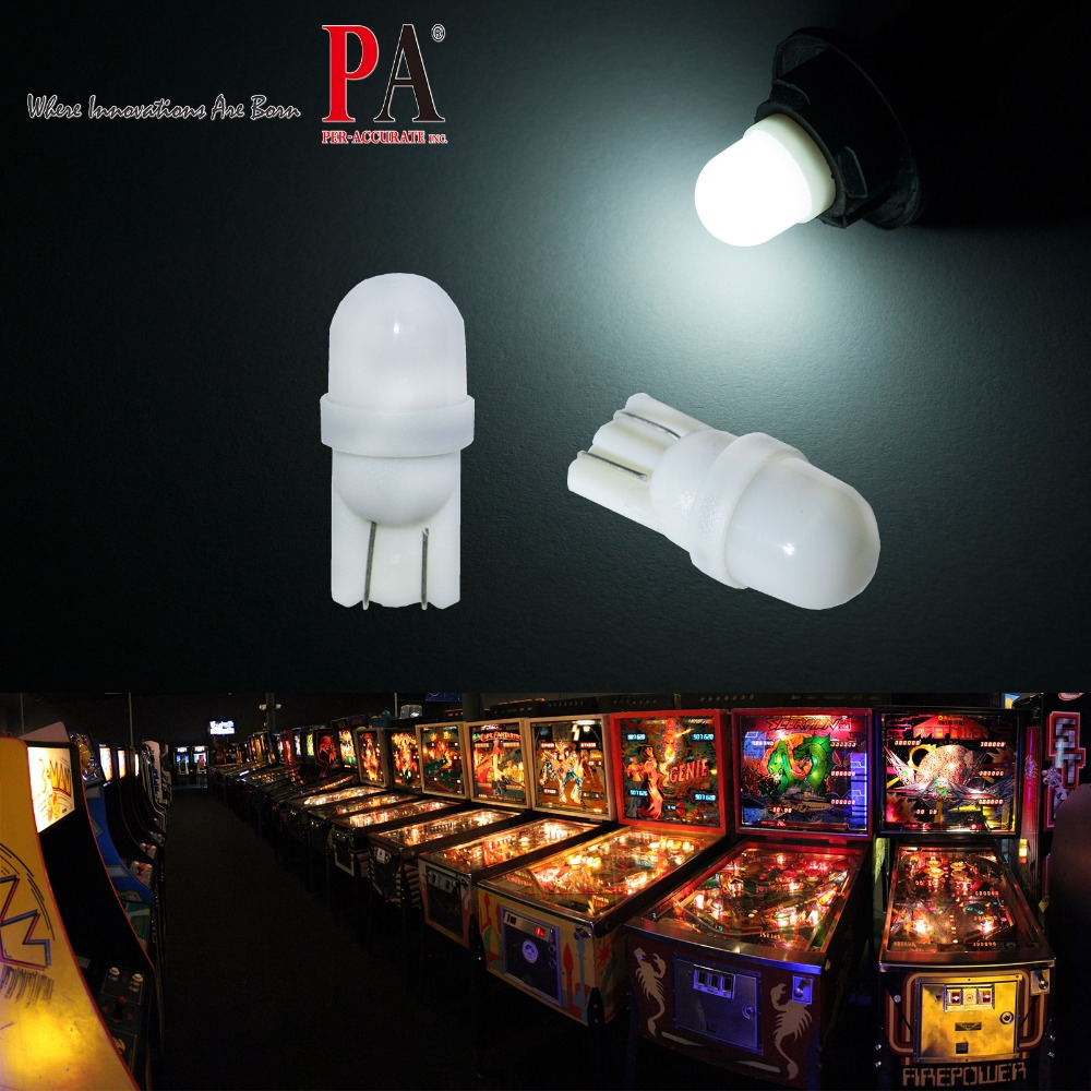 PA LED 20PCS x  2SMD 2835 LED Pinball Machine Dashboard Light Bulb White Color 6.3V Frosted T10 W5W 168 194 AC/DC