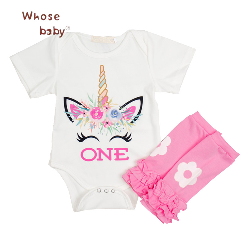 2018 Baby Clothing Sets Unicorn Printed Newborn Clothes Girl Set 2Pcs Bodysuit+Flowers Legging 1Year Birthday Infant Baby Set baby girl clothes sets infant clothing suits toddler girl birthday outfits tutu one year set baby product gift for newborn bebes