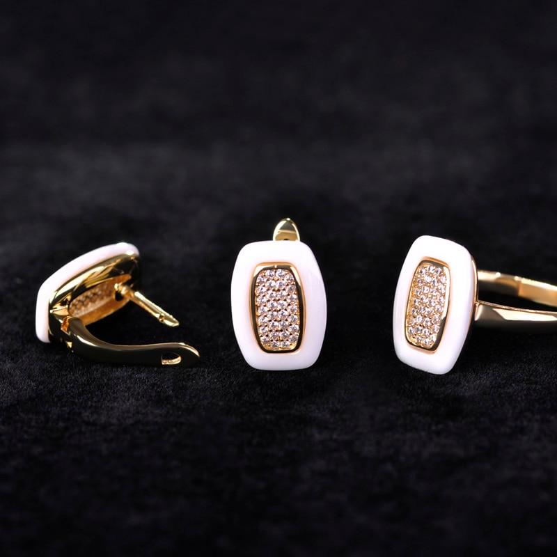 Dazz белый Керамика S Серьги и Кольца Schmuck-Наборы для ухода за кожей золото Цвет квадратный Brincos Анель персонализированные Керамика тонкой Камни ювелирные изделия