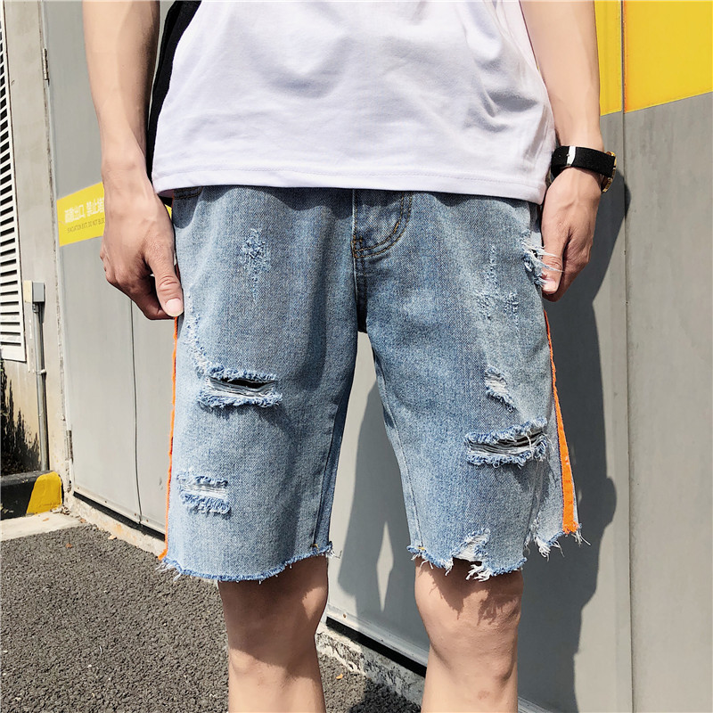 2018 Summer New Mens Short Paragraph Five Minutes Jeans Straight Loose Large Size Casual Fashion Handsome Wild Trend