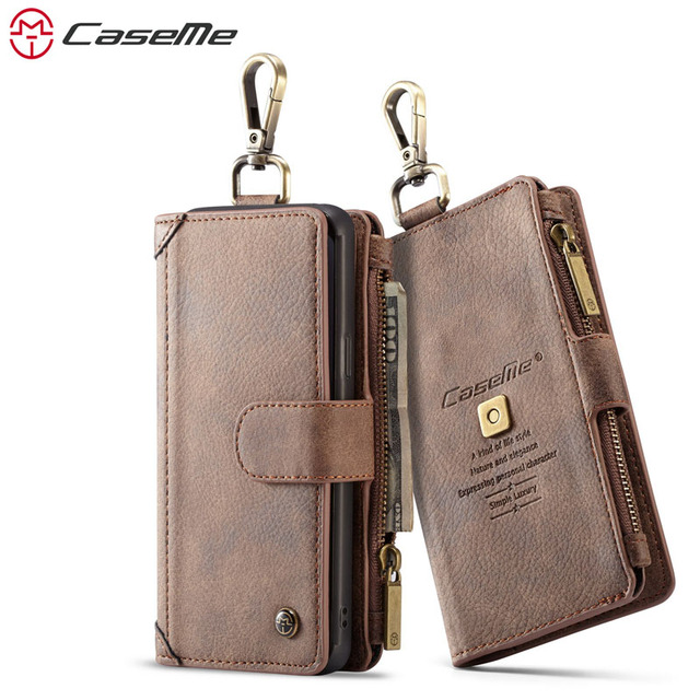 2c9f8137c CaseMe Luxury Genuine Leather Wallet Case for Samsung Galaxy S9 S9+  Magnetic Flip Cover for Galaxy S9 S9+ Funda with Metal Hook