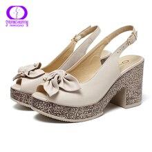 AIMEIGAO 2020 חדש קיץ אופנה גבוהה פלטפורמת סנדלי נשים בוהן פתוח סנדלי פרחים מתוקים עבה עקבים גבירותיי סנדלי נעלי PU